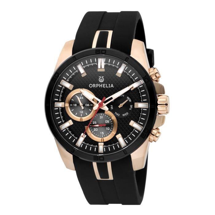 ORPHELIA - Montre Homme - Quartz Multi Dial - Bracelet Silicone Noir - OR86601