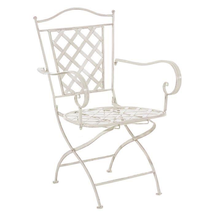 Chaise en fer coloris crème antique - 93 x 56 x 51 cm