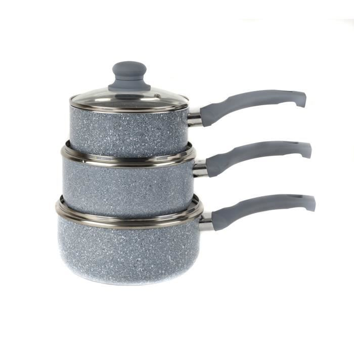 Russell Hobbs BW03721DB Lot DE 3 Casseroles Collection Stone Gris