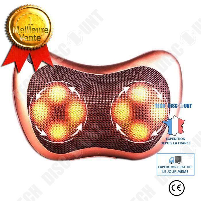 TD® Coussin massage chauffant/Masseur bien être shiatsu 8 rouleaux /Pétrissage dos cou corps /Relaxation appareil de massage