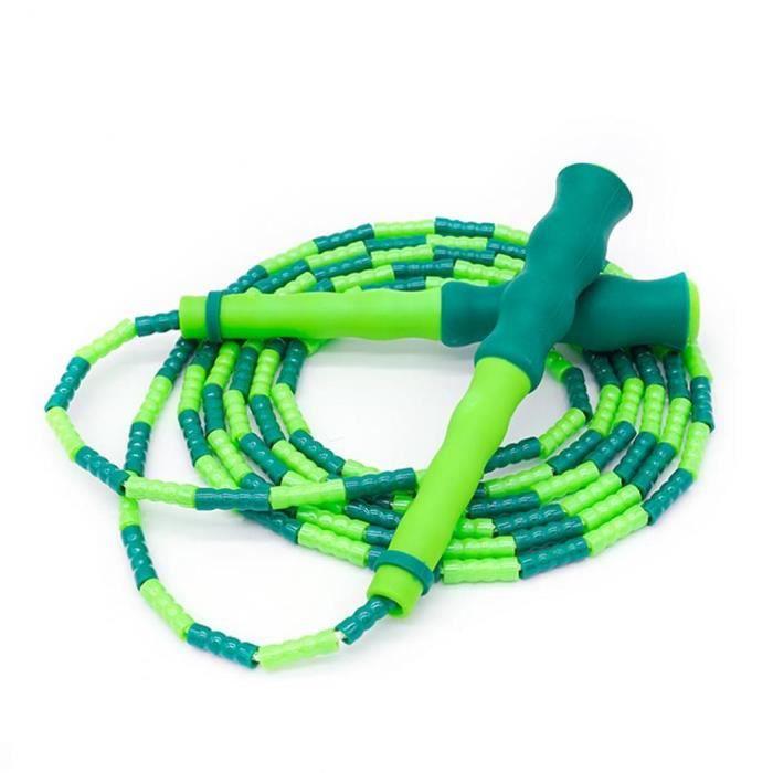 Réglable Corde à sauter Corde à sauter Tangle libre avec Segment souple perlée école de remise en forme (vert)