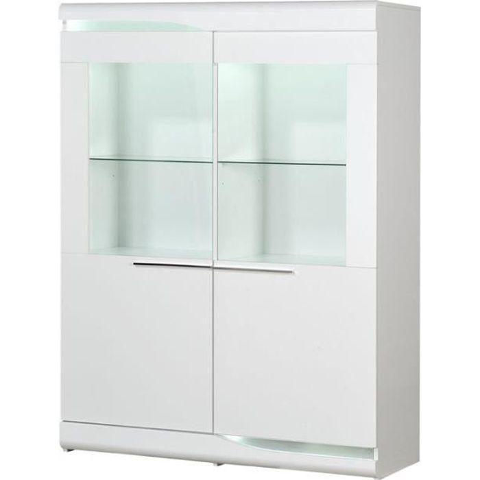 Vitrine 2 portes Blanc laqué brillant à LEDs - PESMES - L 120 x l 46 x H 160