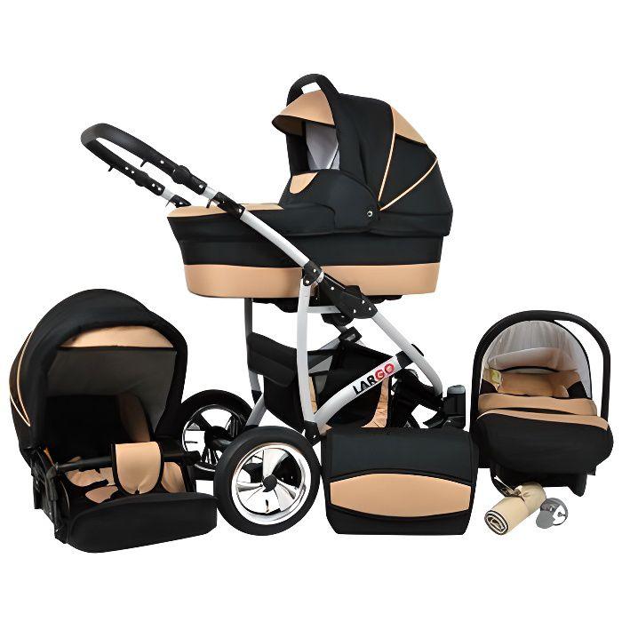 Largo 3 en 1 Poussette combinée avec siège auto Poussette Canne Accessoires 43 NOIR COSMIQUE & CRÈME