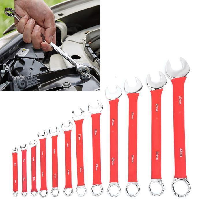 12 pièces ensemble de clés combinées outils de clé de 6 à 32 mm + panneau de blocs magnétiques éponge