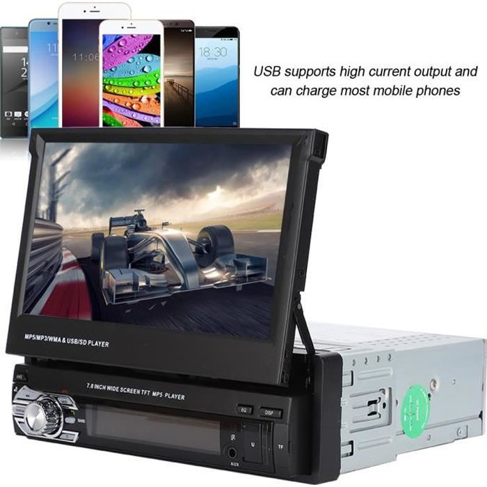 Stéréo de voiture simple Din 7 pouces HD écran tactile rétractable AUX Bluetooth MP5 lecteur autoradio vidéo de AUTORADIO HAN6