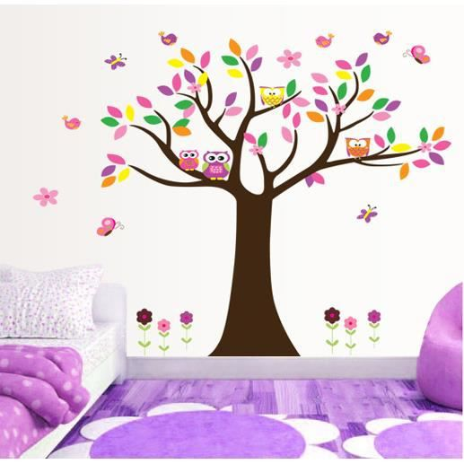 arbre color et hiboux stickers muraux amovibles. Black Bedroom Furniture Sets. Home Design Ideas