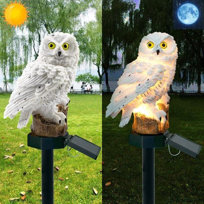 LED Lampe Solaire Forme de Chouette Owl Hibou Jardin Cour Décor Lumière Pelouse