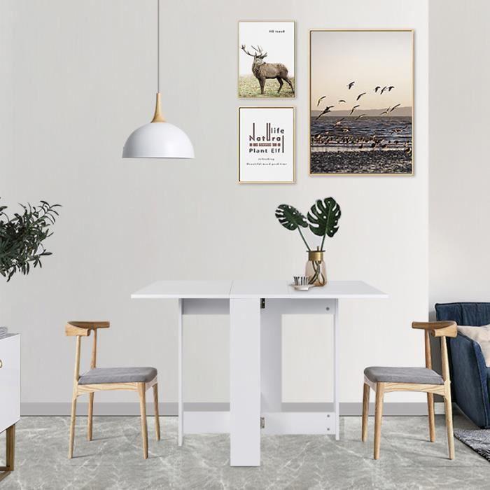 TABLE À MANGER SEULE Blanc Table pliante pliable de cuisine salon salle