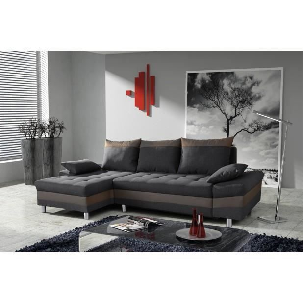 canap bacau gris anthracite marron angle gauche achat vente canap sofa divan cdiscount. Black Bedroom Furniture Sets. Home Design Ideas