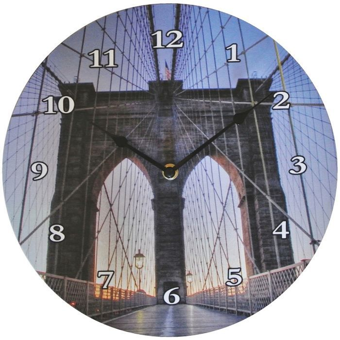 Horloge murale pont brooklyn deco new york pend achat for Horloge murale new york