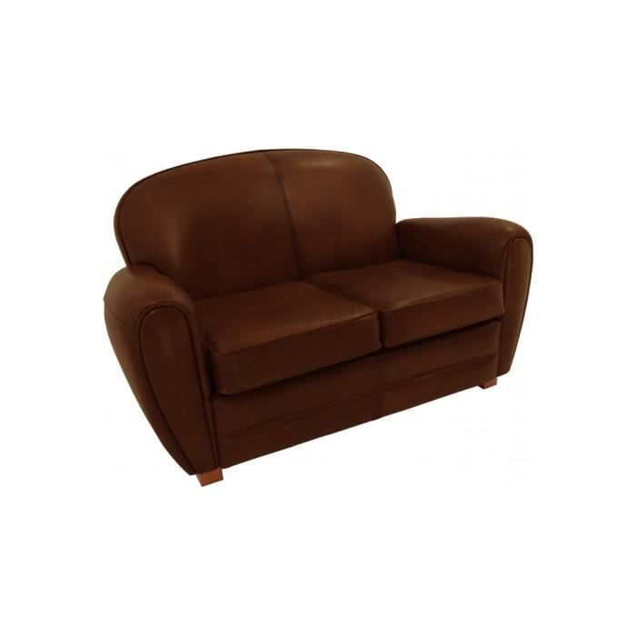 canap club cuir basane chocolat 2 places dossier rond achat vente canap sofa divan. Black Bedroom Furniture Sets. Home Design Ideas