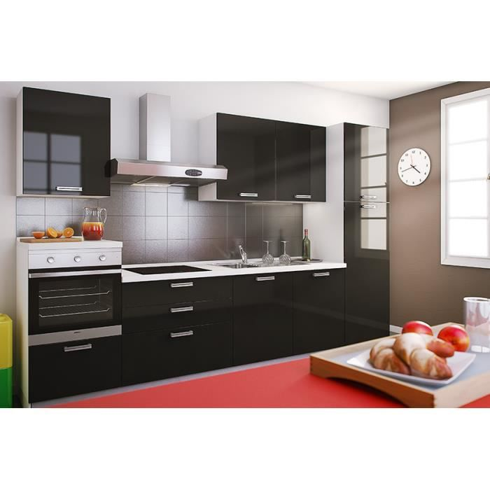 leonis noir cuisine quip e tout inclus 330 cm achat. Black Bedroom Furniture Sets. Home Design Ideas