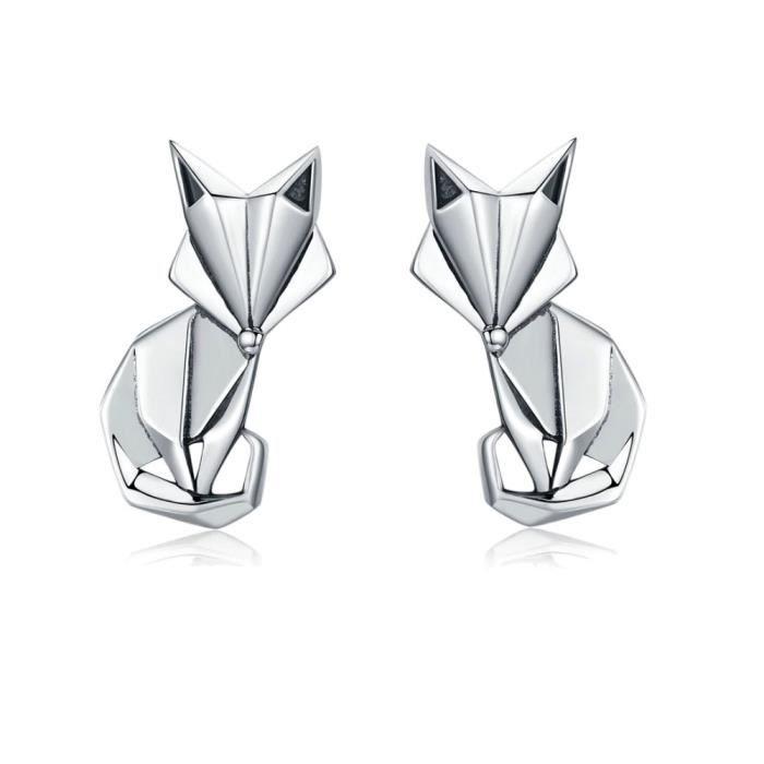 Boucle d'oreille Boucles d'oreilles Femme Renard Origami en Argent