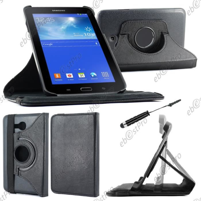 etui rotatif samsung galaxy tab 3 7 0 lite sm t110 noir mini stylet film prix pas cher. Black Bedroom Furniture Sets. Home Design Ideas