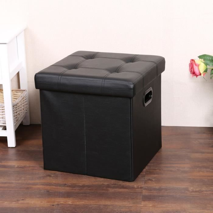 tabouret bo te de rangement pvc cuir suede cube pouf multifonctionnel stockage tabouret. Black Bedroom Furniture Sets. Home Design Ideas