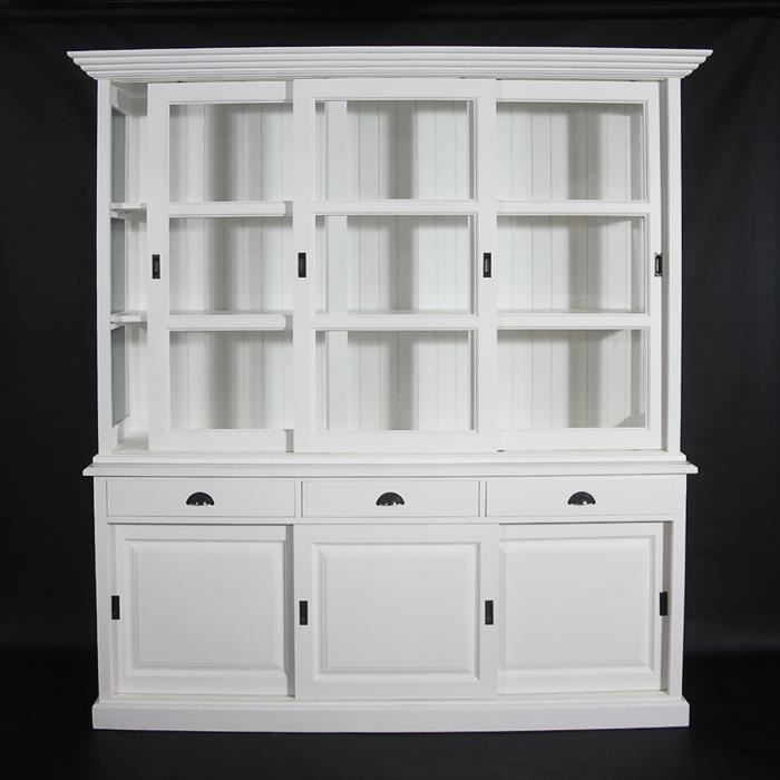 meuble vitrine 2 corps en pin massif blanche achat. Black Bedroom Furniture Sets. Home Design Ideas
