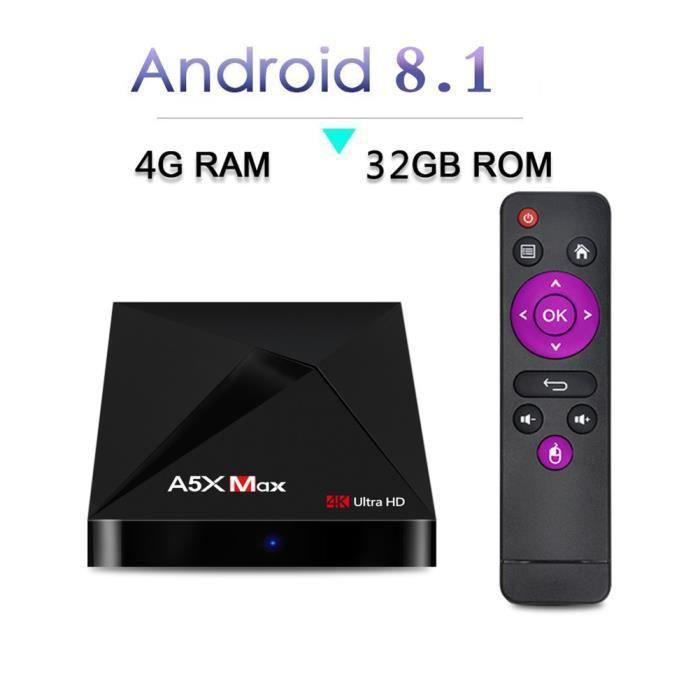 BOX MULTIMEDIA A5X MAX Android 8.1 4GB 32GB TV BOX RK3328 4K BT 4