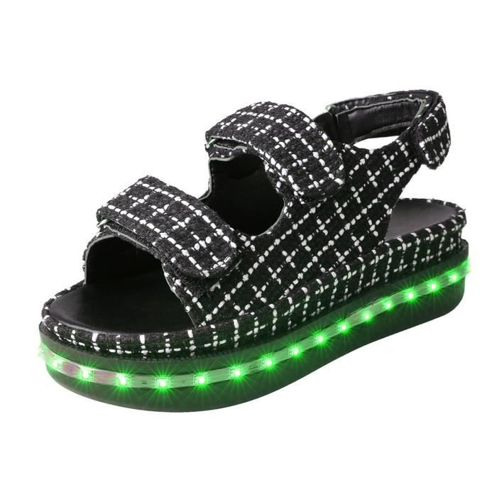 SANDALE - NU-PIEDS Sandales femme Night Light Shoes Casual LED Lumino