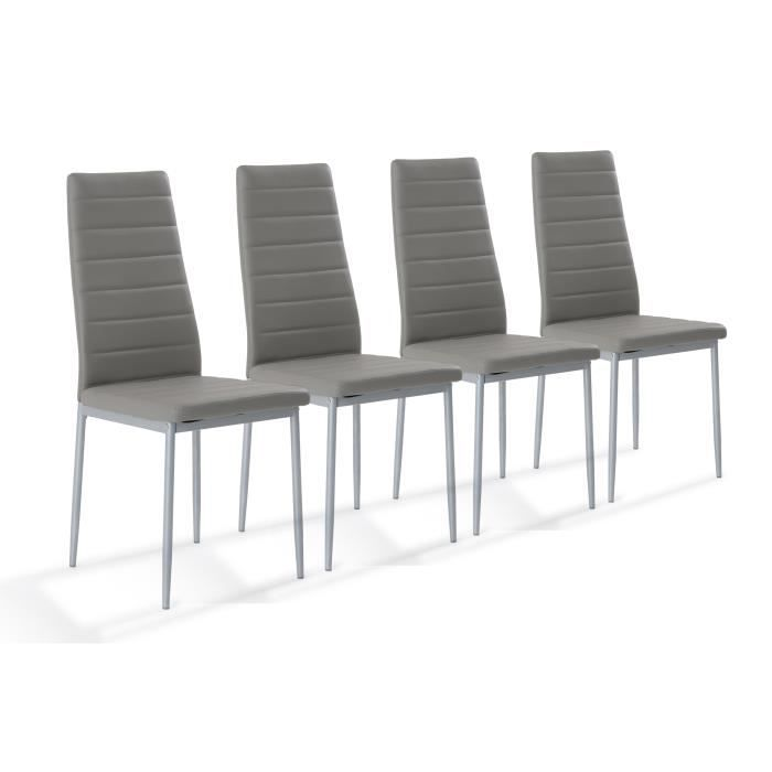 tessa lot de 4 chaises de salle manger grises achat. Black Bedroom Furniture Sets. Home Design Ideas