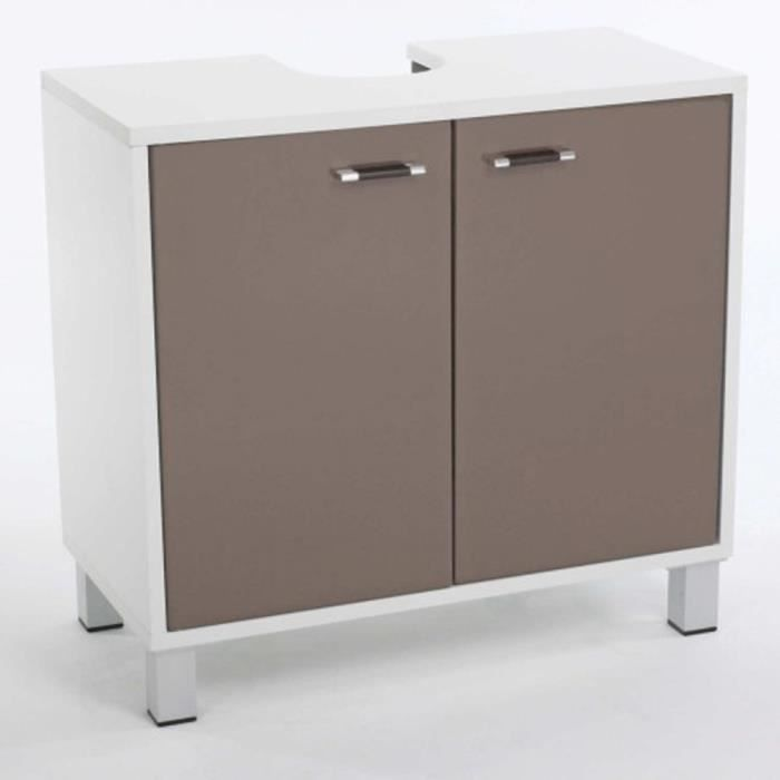 meuble dessous lavabo dinamo en mdf coloris taupe et. Black Bedroom Furniture Sets. Home Design Ideas
