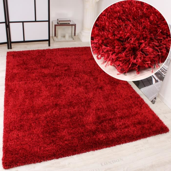 tapis shaggy rouge 200x290 cm achat vente tapis cdiscount. Black Bedroom Furniture Sets. Home Design Ideas