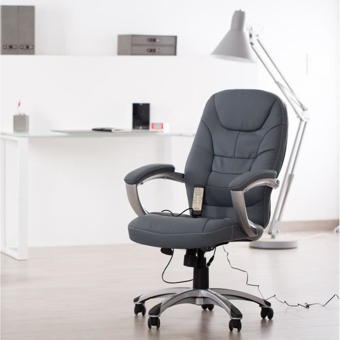 minister fauteuil de bureau massant gris 4 points de massage achat vente chaise de bureau. Black Bedroom Furniture Sets. Home Design Ideas