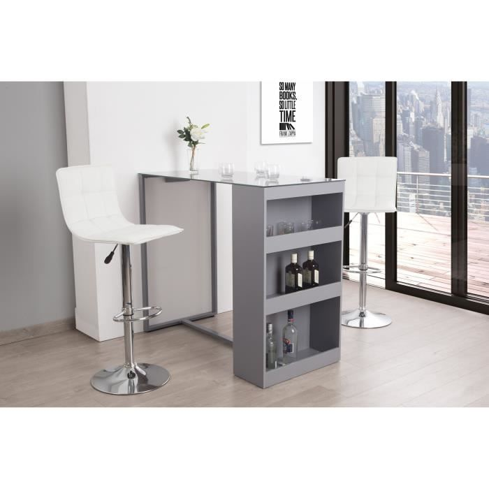 table bar 2 personnes contemporain blanc et gris l 120 cm achat vente meuble bar table bar. Black Bedroom Furniture Sets. Home Design Ideas
