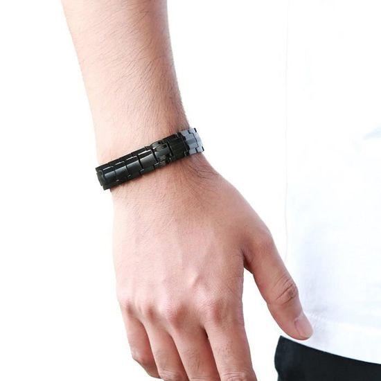 Prayer Mala COOLSTEELANDBEYOND Homme Bracelet de 9MM Blanc Gemme Perles AVCE Barbell Halt/ère