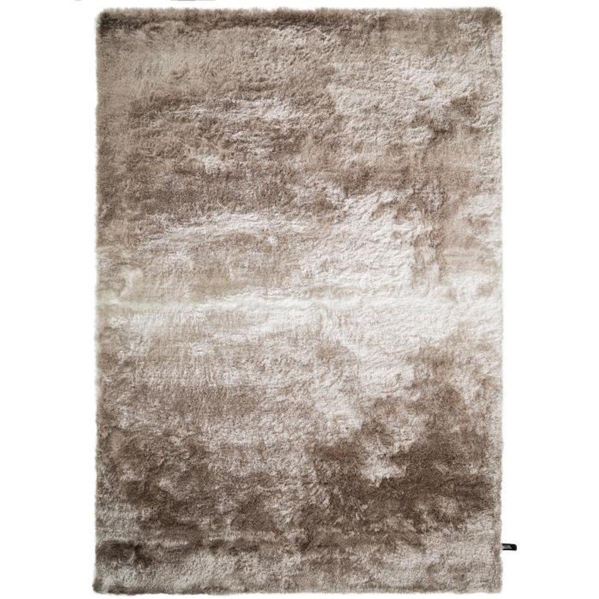 Tapis shaggy à poils longs Whisper Beige/Marron clair 160x230 cm - Tapis  doux pour salon