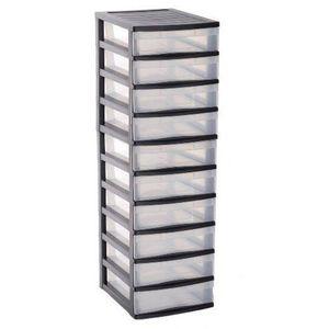 Boîte de classement FAST Tour de rangement 10 tiroirs - PP - Noir