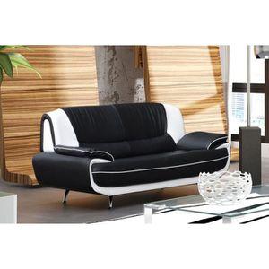 CANAPÉ - SOFA - DIVAN MUZA - Canapé design 3 places en simili cuir noir