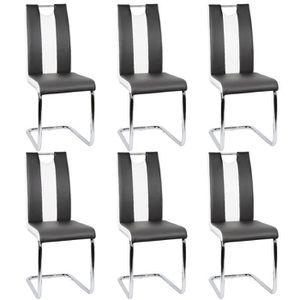 CHAISE Lot de 6 chaises de salle à manger - Simili noir e