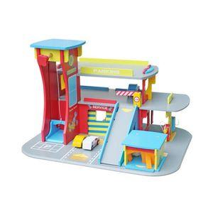UNIVERS MINIATURE Garage parking en bois 3 niveaux pour enfant HUBER
