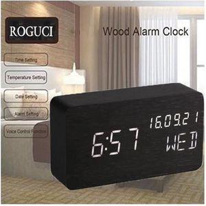 Noir r/étro-/éclairage Aiusmcbsy LED R/éveil Digital Affichage de la Date R/éveil Num/érique avec Snooze lumi/ère de Nuit temp/érature Grand /écran Horloge LCD /électronique