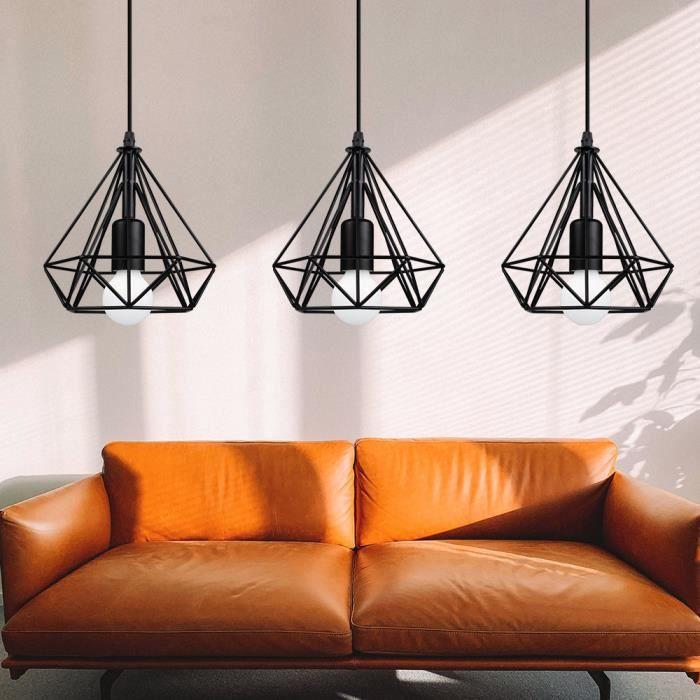 Mogod Lot de 3 Rétro Vintage Lustre Suspension Industrielle E27 20cm Cage Métal Luminaire Abat-jour Métal pour Escalier Chambre Salo