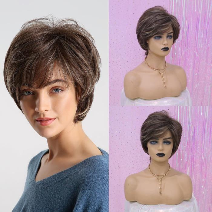 Nouveau naturel court cheveux bouclés perruque synthétique Mode onduleux chaleur perruques Résistant + Cap @whicloud20893