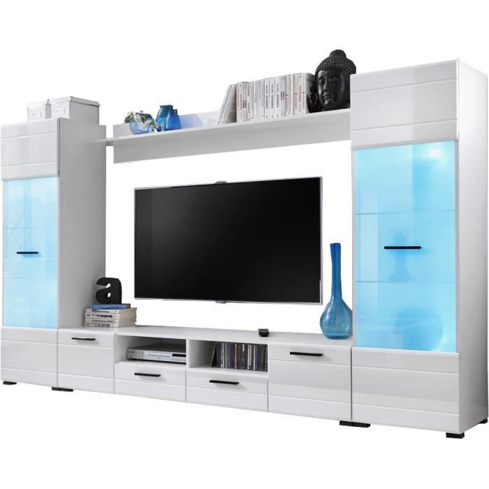 Extreme Furniture Meuble TV Mural Switch - LEDs multicolores avec télécommande - Blanc Brillant & Blanc - Façades en Brillant -