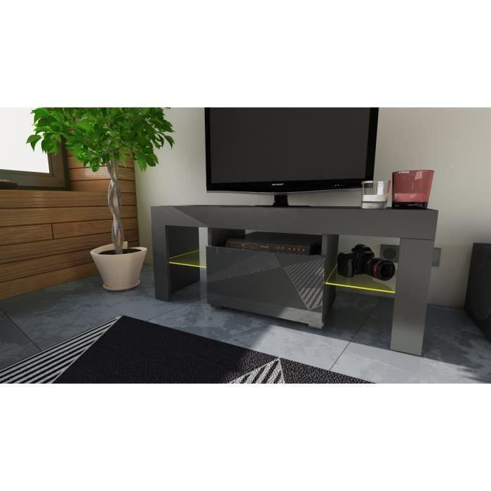 MEUBLE TV 110 CM Noir avec LED RGB