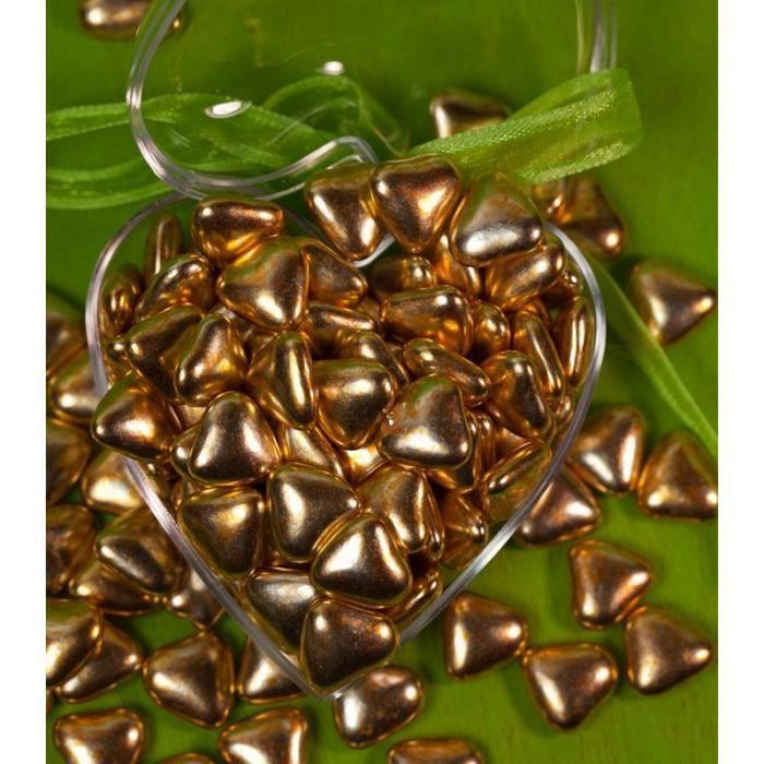 500 gr Dragées Petit Coeur Chocolat - OR