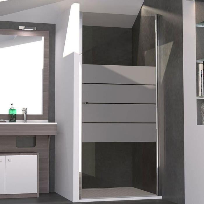 CREAZUR Porte de Douche pivotante Serylane 6mm 80 x 190 en verre sérigraphié gris 6mm