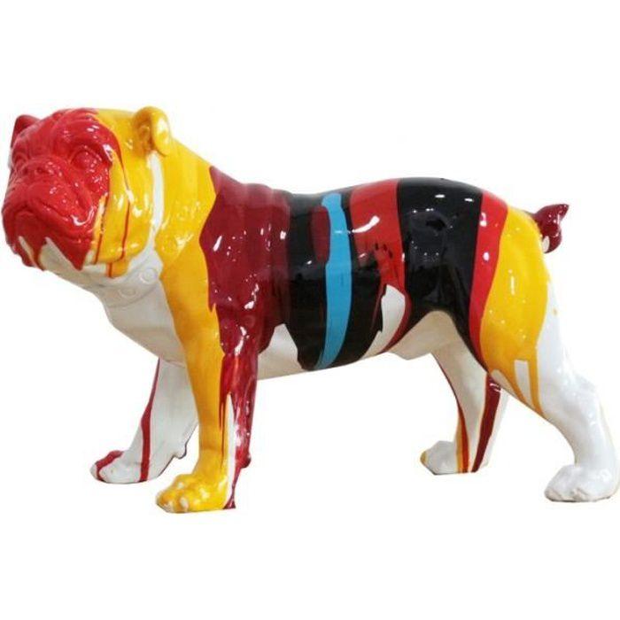 statue chien taches de peinture multicolore en résine - ALAIN