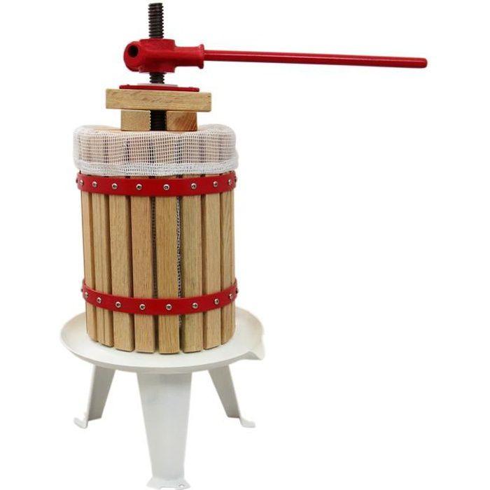 Pressoir à Fruits Traditionnel 18 Litres Chêne Préparation Moût Fabrication Jus de Fruit, Vins & Cidres