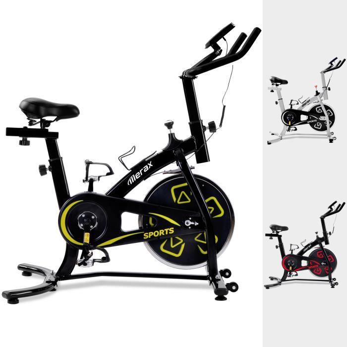 Merax Vélo d'appartement Cardio Fitness Biking spinning, Vélo d'intérieur d'exercice maison réglable, Ecran LCD, Jaune - 100kg
