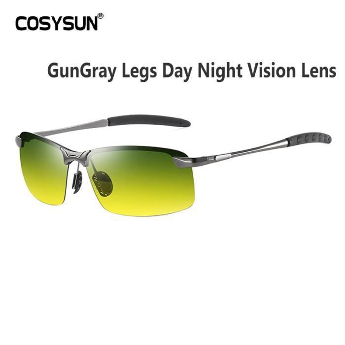 Lunettes de Soleil,Lunettes de Vision nocturne pour conducteur Lunettes de soleil polarisées HD pour la - Type GunLeg Day-Night