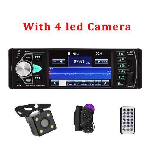 Podofo 4.1 pouce 1 Din Radio voiture Auto Audio stéréo autoradio Bluetooth Support vue arrière caméra USB - Type With 4 LED Camera