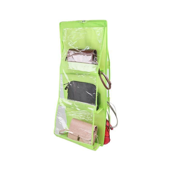 6 poche suspendus sac à main organisateur pour garde-robe placard Transparent sac de rangement porte mur clair divers sac-vert
