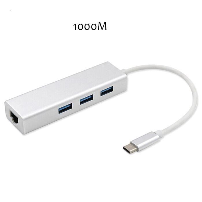 Adaptateur Ethernet 100 Hub pour Ethernet LAN RJ45, carte réseau Gigabit, 1000 / USB-C M, pour Macbook