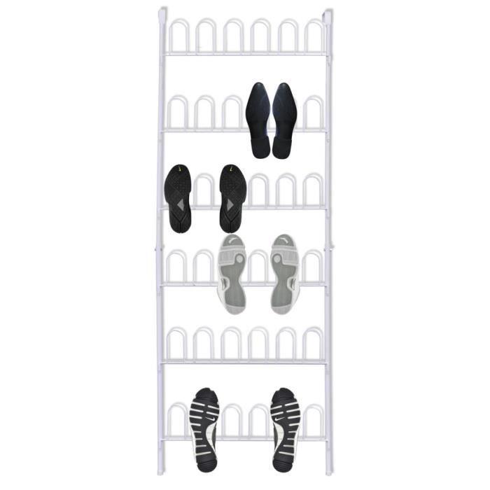MEUBLE® Meuble à chaussures plateau Design - Banc à chaussures Étagère à Chaussures Blanc Acier pour 18 paires de chaussures ♕8776