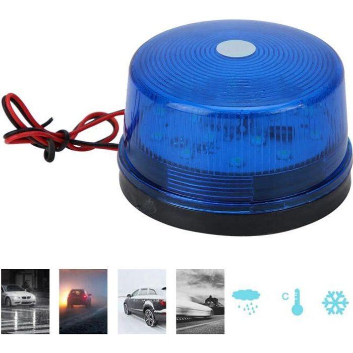 Qiilu lumières LED 12V LED clignotant gyrophare stroboscopique LED voyant d'avertissement lampe d'urgence de sécurité (bleu)