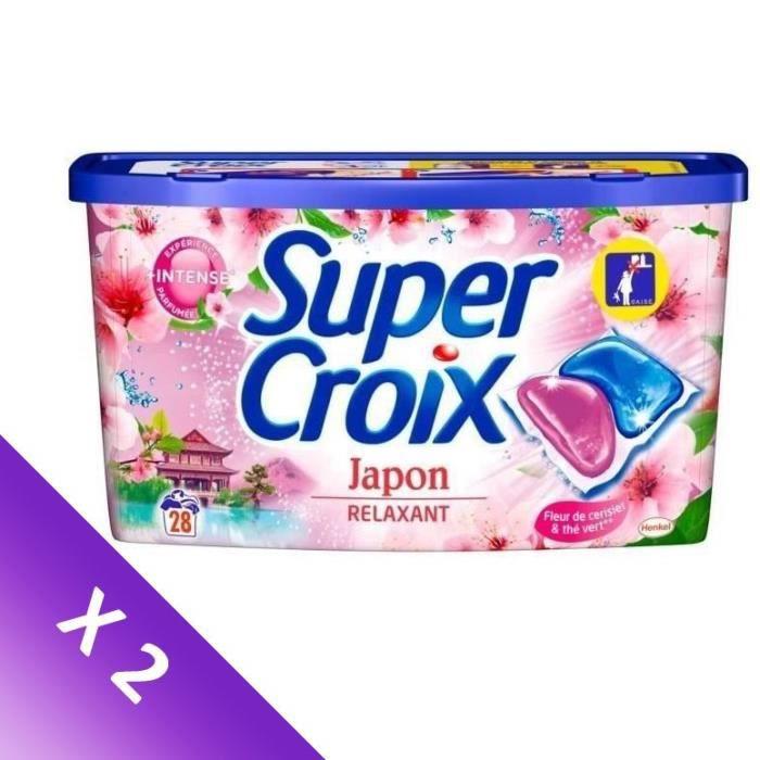 SUPER CROIX Lessive Duo-Caps Japon - 28 doses - Lot de 2